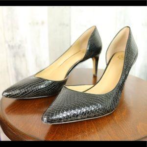 Ann Taylor Black Leather Reptile print heels Sz 8M